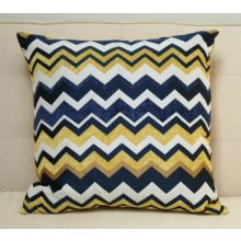 Blue and Gold Chevron Pillow