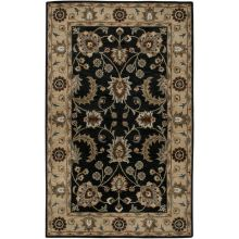 8' x 10' Ink Blue and Beige Traditional Indian Rug