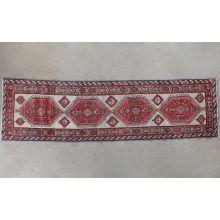 "2'9"" x 10'6"" Red and Cream Azerbaijani Persian Runner Circa 1965"