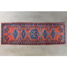 "3'6"" x 10'7"" Brick Red and Blue Azerbaijani Persian Runner Circa 1970"