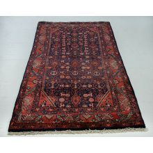"3'7"" x 6'8"" Antique Hossainabad Style Navy & Red Persian Rug"