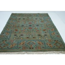 8' x 6' Flat Weave Mint Turkish Heriz Rug