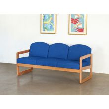Natural Oak Sofa in Blue Upholstery
