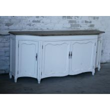 Antique White Distressed Louis Sideboard with Limed Wood Top