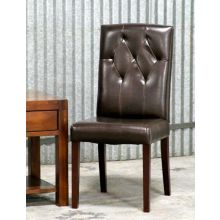 Brown Leather Tufted Side Chair