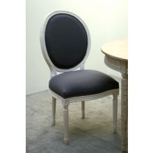 Gray Linen Medallion Side Chair in Antique White Finish