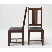 Mission Style Side Chair with Black Leather Seat