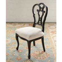 Black Italian Side Chair with Bone Seat