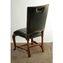 Black Leather Side Chair with Cabriole Legs