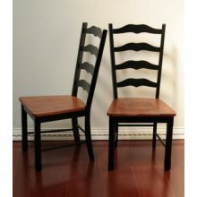 Antique Black Ladderback Side Chair with Maple Seat