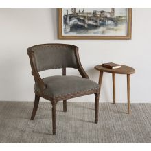 Exposed Wood Frame Side Chair with Nailhead Trim