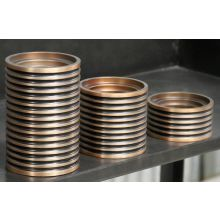 Set of 3 Ribbed Copper Candle Holders