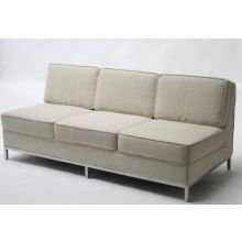 Florence Knoll Style Armless Sofa in Oatmeal Tweed
