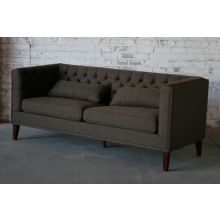 Tufted Brown Sofa with Antique Brass Nailhead Trim