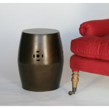 Chinese-Style Antique Brass Stool or End Table