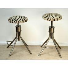 Adjustable Steel Stool with Zebra Print Upholstery