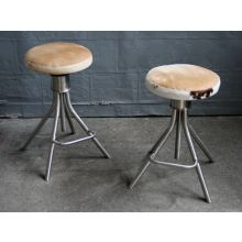 Adjustable Steel Stool with Cowhide Upholstery