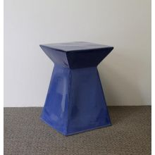 Blue Geometric Stool