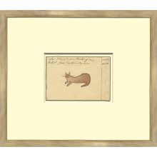 Brown Cat - Sm. Mennonite Ledger Drawing 16W x 15H