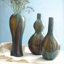 Set of 3 Colorful Swirls Vases