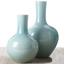 Set of 2 Aquamarine Collar Vases