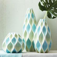Set of 3 Blue Waves Vases