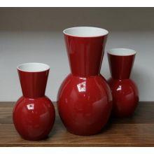 Set of 3 Cranberry Vases