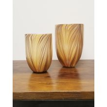 Set Of 2 Honey Hued Hand Blown Glass Vases