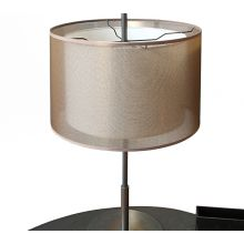 Modern Brushed Silver Table Lamp With Taupe Shade