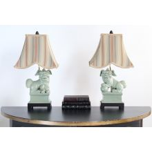 Pair of Celedon Foo Dog Table Lamps