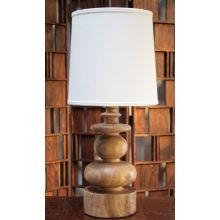 Sculpted Blonde Wood Table Lamp