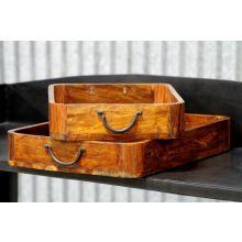 Set of 2 Wood and Iron Trays
