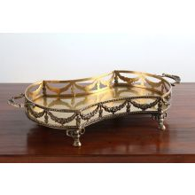 Antique Brass Garland Footed Tray
