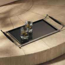 Black and Chrome Tray with Wood Handles