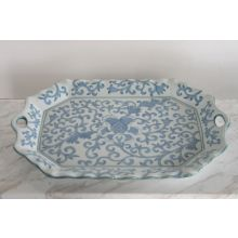 Chinoiserie Style Blue and White Ceramic Tray