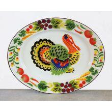 Metal Platter With Enamel Painted Turkey Design