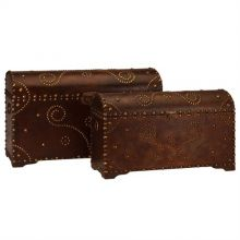 Set of 2 Scroll Embossed Trunks